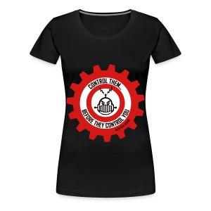 MTRAS Control The Robots Black, Red & White - Women's XL Tshirt - Women's Premium T-Shirt