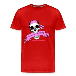 Hope For a Cure Skull Scroll Pink T-Shirts - Men's Premium T-Shirt