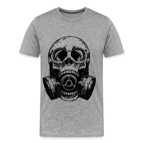 Gas Mask Embedded in Skull - Men's Premium T-Shirt
