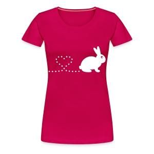 'Pooping Heart Rabbit' Ladies Plus-Size T-Shirt - Women's Premium T-Shirt