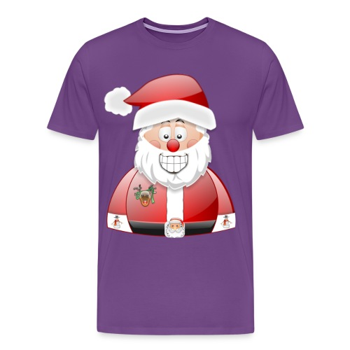 Smily Santa with father christmas badge & Raindeer - Men's Premium T-Shirt