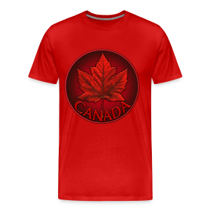 Men's Canada T- Shirt Souvenir Red Maple Leaf  Ringer T-shirts - Men's Premium T-Shirt