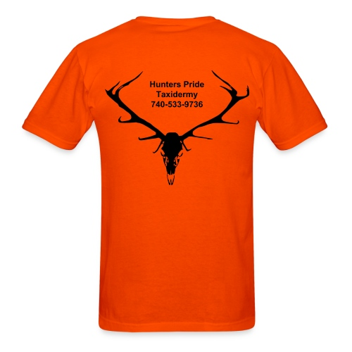 Elk Skull on Back and Company Logo - Men's T-Shirt
