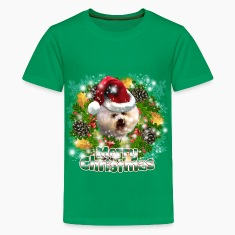Merry Christmas Bichon Frise Kids' Shirts