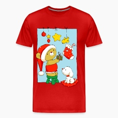Christmas Bear doing Christmas decorations T-Shirt