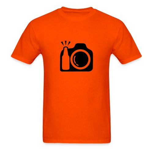 Men's Orange T-shirt With Black Logo - Men's T-Shirt