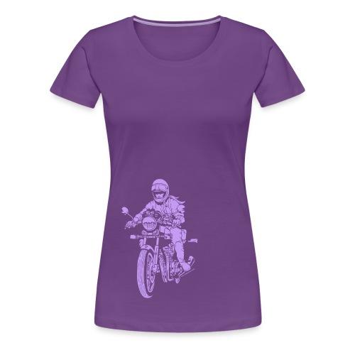 Motorcycle Rider on Purple - Women's Premium T-Shirt