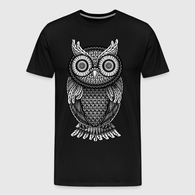 ornamental owl design black and white t shirt spreadshirt
