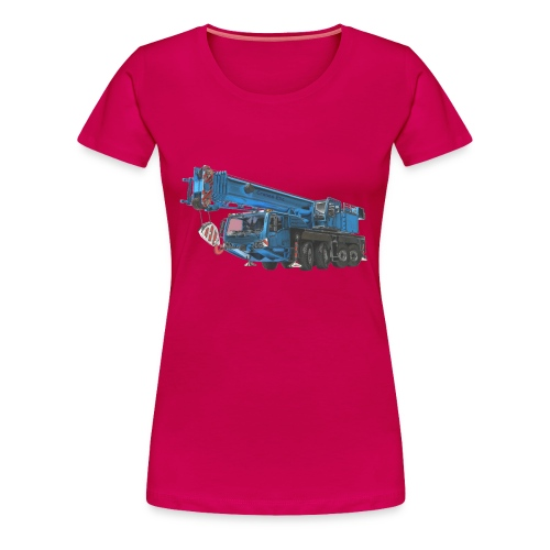 Mobile Crane 4-axle - Blue - Women's Premium T-Shirt