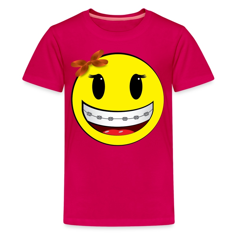 smiley braces girl t shirt spreadshirt. Black Bedroom Furniture Sets. Home Design Ideas