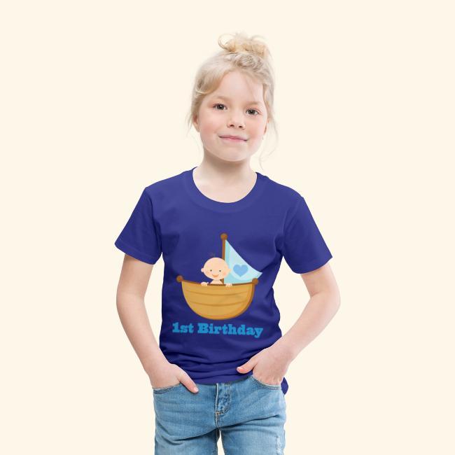 Babys 1st Birthday Boy In Boat T Shirt