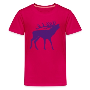 animal t-shirt stag antler cervine deer buck night hunter bachelor - Kids' Premium T-Shirt