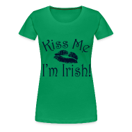 T-Shirts ~ Women's Premium T-Shirt ~ Plus Size Glitter Kiss Me I'm Irish Women's Tshirt