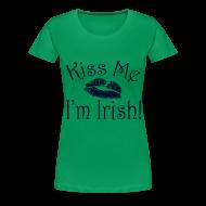 Women's T-Shirts ~ Women's Premium T-Shirt ~ Plus Size Glitter Kiss Me I'm Irish Women's Tshirt