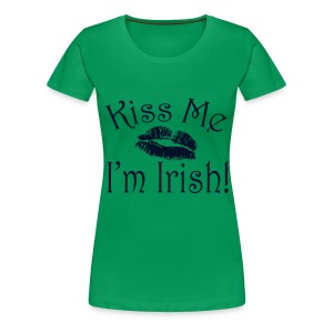 Plus Size Glitter Kiss Me I'm Irish Women's Tshirt - Women's Premium T-Shirt