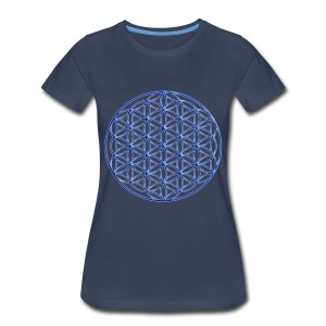 Blue Flower of Life - Sacred Geometry Symbol - Women's Premium T-Shirt