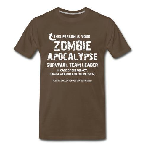 Zombie Apocalypse Team Leader - Brown - Men's Premium T-Shirt