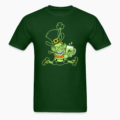 Green Leprechaun Running with Beer T-Shirts