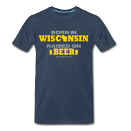 T-Shirts ~ Men's Premium T-Shirt ~ Born in Wisconsin - Metallic Silver