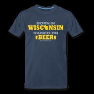 T-Shirts ~ Men's Premium T-Shirt ~ Born in Wisconsin - Metallic Silver