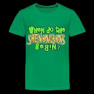 Kids' Shirts ~ Kids' Premium T-Shirt ~ When do the Shenanigans Begin Boys Kids St. Patrick's Day T-Shirt