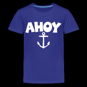 Ahoy Kid's T-Shirt Anchor (Blue/White) - Kids' Premium T-Shirt