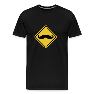 T-Shirts ~ Men's Premium T-Shirt ~ Beware of Moustaches Road Sign t-shirt