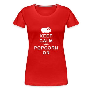 'Keep Calm & Popcorn On' Ladies Plus-Size T-Shirt - Women's Premium T-Shirt