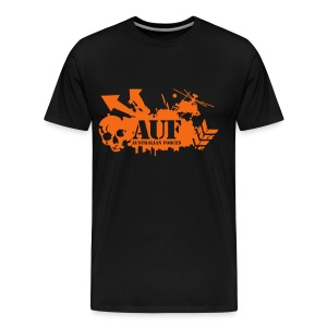 AUF Logo - Mens Heavyweight T-Shirt - Basic Logo - Flex Printing LOGO and URL - Men's Premium T-Shirt