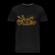 T-Shirts ~ Men's Premium T-Shirt ~ AUF Logo - Mens Heavyweight T-Shirt - Basic Logo - Metallic GOLD Speciality Flex Printing borderless LOGO and URL