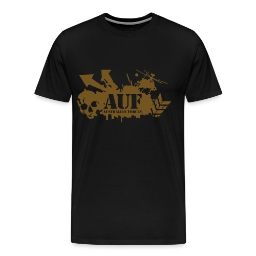 AUF Logo - Mens Heavyweight T-Shirt - Basic Logo - Metallic GOLD Speciality Flex Printing borderless LOGO and URL - Men's Premium T-Shirt