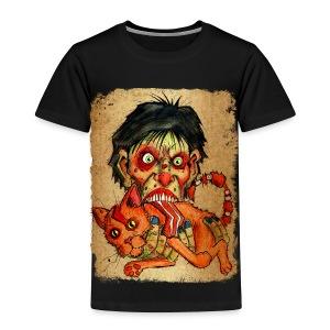 kids zombie eating bacon cat - Toddler Premium T-Shirt
