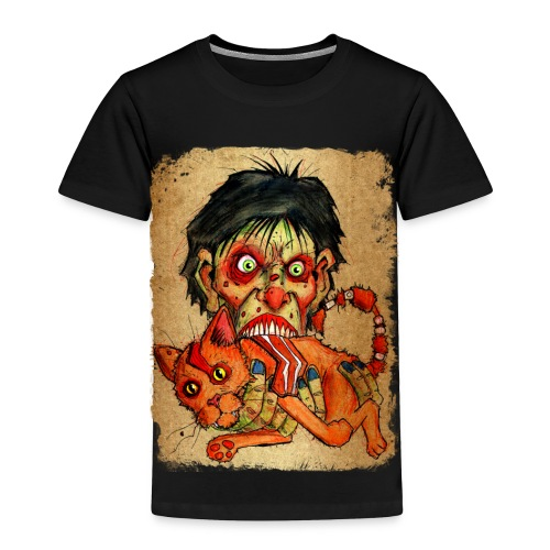 kids zombie eating bacon cat - Toddler Premium T-Shirt