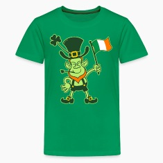 Proud Leprechaun Waving an Irish Flag Kids' Shirts