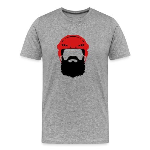 Hockey Player Helmet with Beard - Playoff - Men's Premium T-Shirt