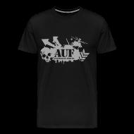 T-Shirts ~ Men's Premium T-Shirt ~ AUF Logo - Mens Heavyweight T-Shirt - Basic Logo - Metallic Silver Printing borderless LOGO and URL