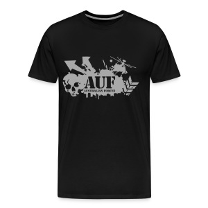 AUF Logo - Mens Heavyweight T-Shirt - Basic Logo - Metallic Silver Printing borderless LOGO and URL - Men's Premium T-Shirt
