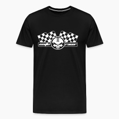 cafe racer racing motorcycle skull and flag