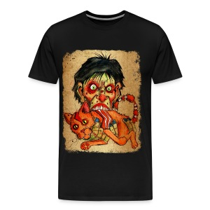mens zombie eating bacon cat - Men's Premium T-Shirt