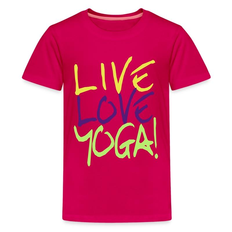 Live love yoga custom yoga shirts t shirt spreadshirt for Custom kids t shirts