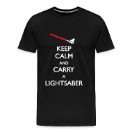 T-Shirts ~ Men's Premium T-Shirt ~ Keep Calm Red Lightsaber 1