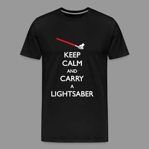 Keep Calm Red Lightsaber 1 - Men's Premium T-Shirt