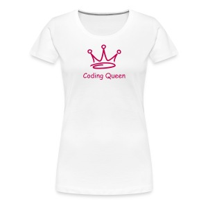 White Coding Queen T - Women's Premium T-Shirt