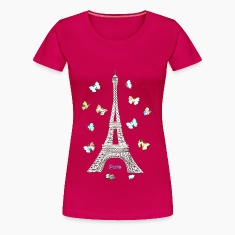 Paris Love Blue Butterflies Women's T-Shirts