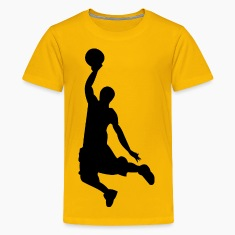 Basketball Dunk Silhouette Kid's Yellow Shirt