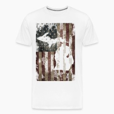 USA Flag Distressed Michigan Down with Detroit T-Shirts