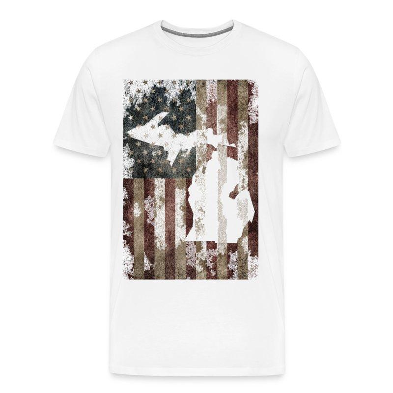 Usa United States Made Michigan Vintage Flag T Shirt