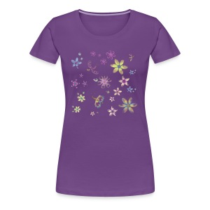 flowers and butterflies - Women's Premium T-Shirt