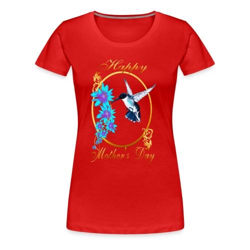 One Blue Hummingbird and a Mom - Women's Premium T-Shirt