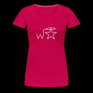 Women's T-Shirts ~ Women's Premium T-Shirt ~ Women's Plus Size White Logo Wranglerstar